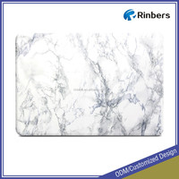 White Marble Pattern Rubber Coated Cover Case for MacBook Pro 15.4 inch with Retina Display A1398