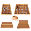 7 Slots Bamboo Kitchen Drawer Expandable Cutlery Utensil Storage Organizer Utility Drawer
