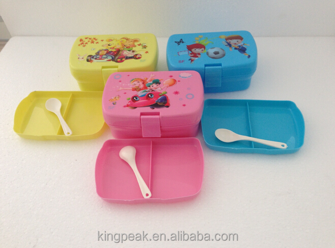 2016 Best Selling BPA free Kids Lunch Bento box/School Lunch Box with three compartment/Customized Cute food storage containers
