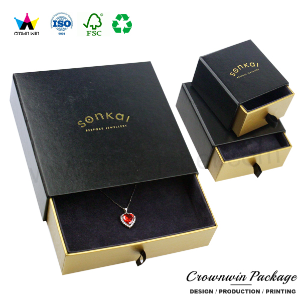 Luxury Mother Day Paper Gift Box For Jewelry With Sliding CrownWin Packaging