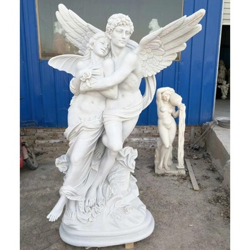 Pure natural white marble winged greek goddess statue lovers for yard decor