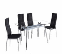 European style metal legs glass top dining table with leather chair