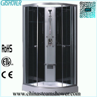Small Sealed Glass Block Free Standing Shower Enclosure