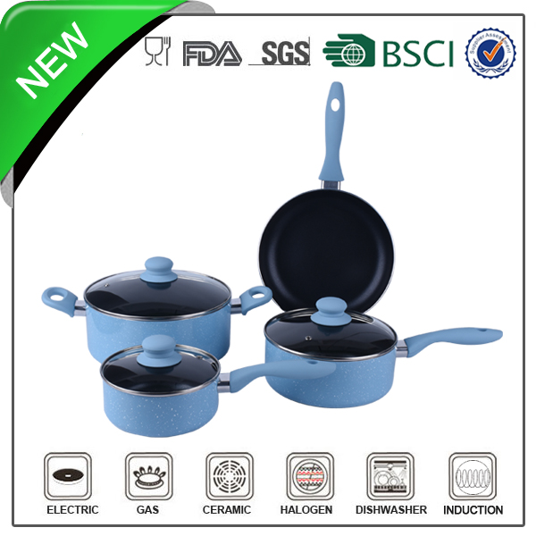 pressed blue marble paiting enamel coated cast iron cookware