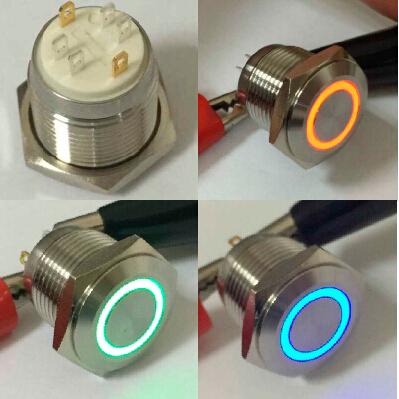 High quality Since 1988 ONPOW CE,ROHS 16mm RGB tri-color LED illuminated push button switch
