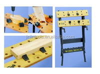 Portable folding wooden/steel fabrication work bench/work table