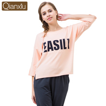 2017 Best Qianxiu Half Sleeve Cottton Trendy Ladies Sleepwear