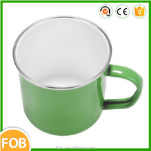 Solid color without decal printing/The stainless steel rim(304)/Accept the any color ,Camping Coffee enamel mug