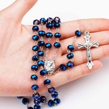 Blue glass crystal Catholic rosary beads Notre Dame cross necklace