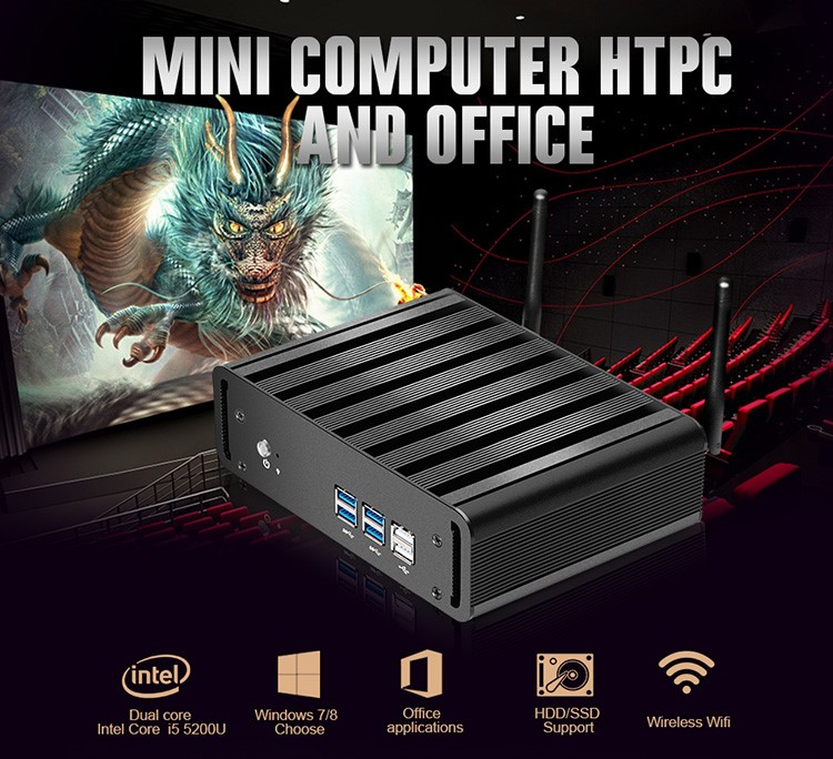 Newest Mini Pc i3 5005U i5 5200U i7 5500U 2.2GHz Dua Core Barebone micro Computer No Ram No SSD windows10 4*USB3.0+Vga