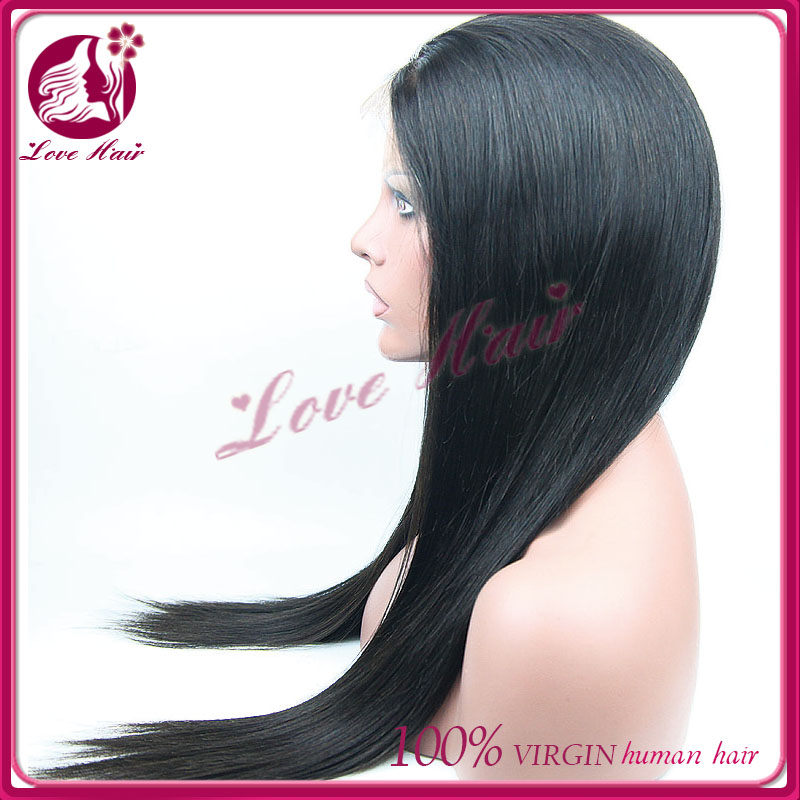 7A Grade Natural Hair Line Glueless Brazilian Human Hair Full Lace Wig Silky Straight Human Hair Wig