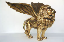 Brass Flying Lion With Wing Statue For Home Decoration