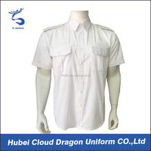 Cheap security dress shirts company men pilot white shirt for wholesale