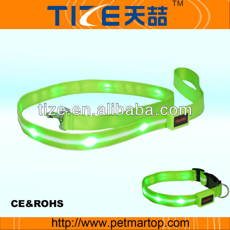 USB line rechargeable led pet leash for dog electronic dog collar TZ-PET6102U