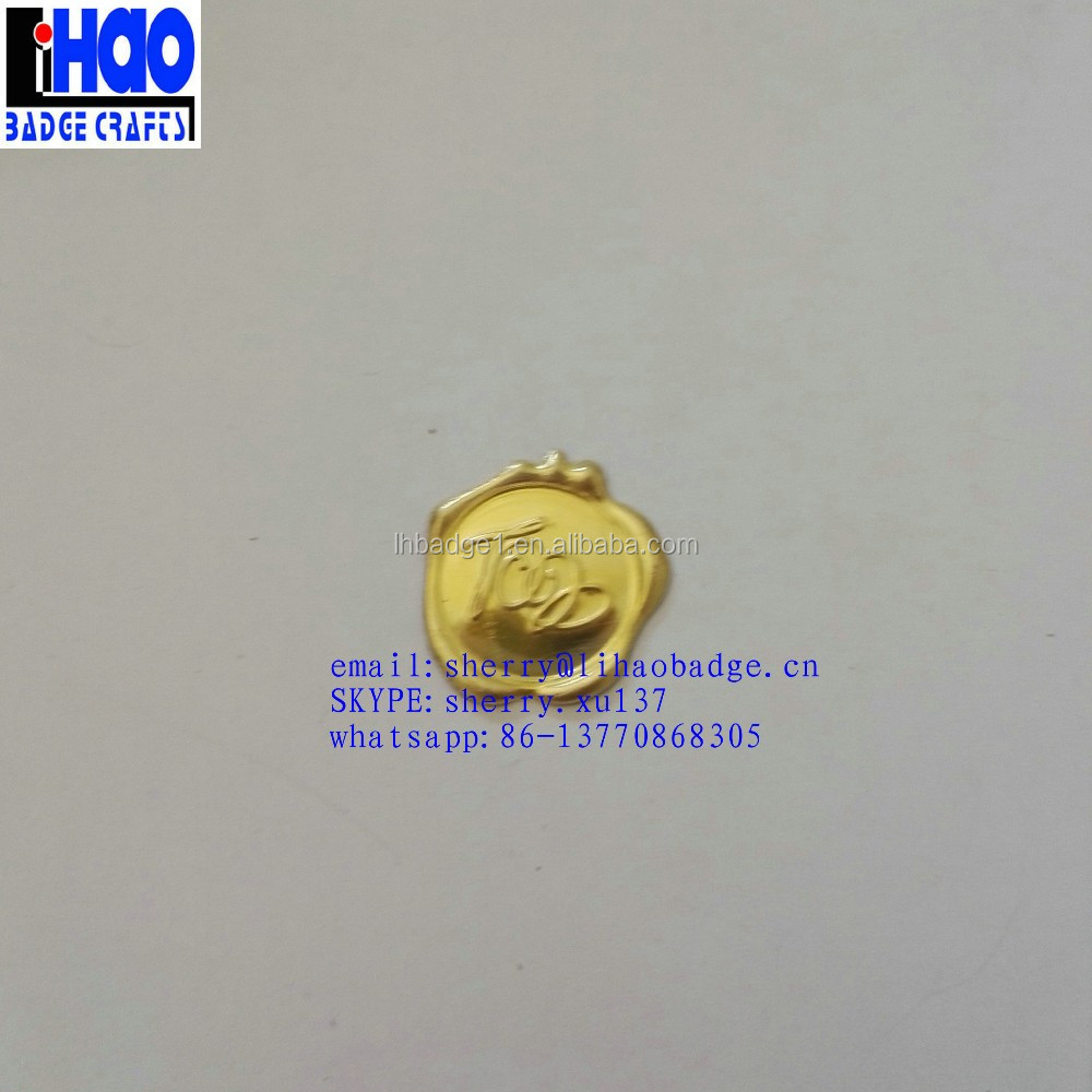 Gold color logo embossed metal logo wax seal sticker