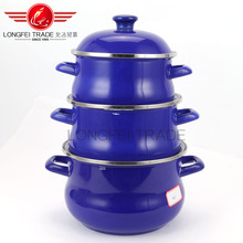 blue color high quality hot sale 3pcs enamel cookware set wholesale