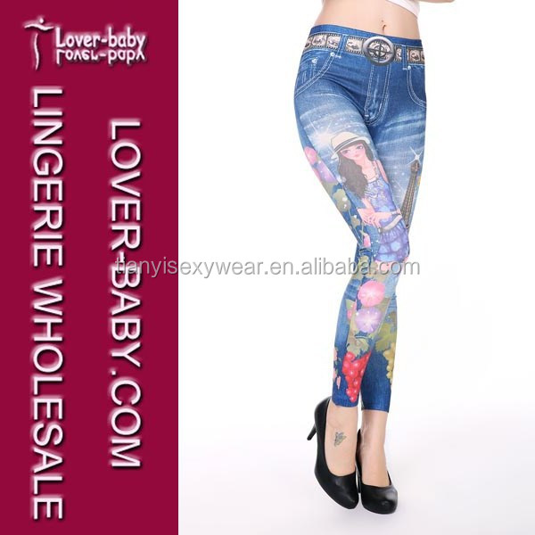 Hot-selling Newest Collection Blue Full Length Cartoon Girls Printed Fake Jegging Jean Leggings