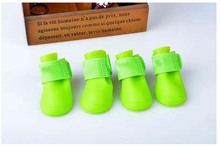 green Brand new Lovely Portable Pet Dog Waterproof Boots Rain Shoes