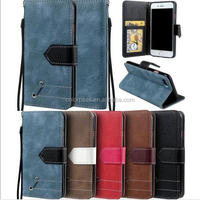 Classical Retro mixed color style Card slot Photo frame flip cover wallet leather case for iPhone 7 7 Plus