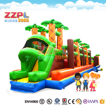 ZZPL Commercial Outdoor Giant Jungle Theme Funny Long Colorful Inflatable Obstacle Course for Sale