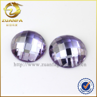19 mm 20mm flat back lavender round cubic zirconia, checker cut CZ gems sri lanka prices