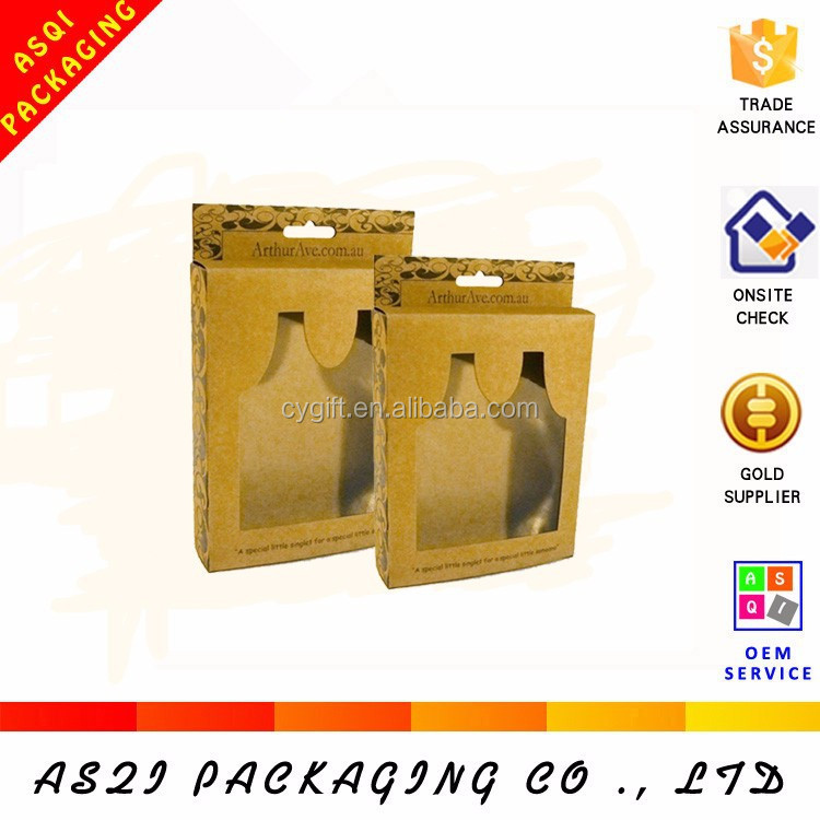 PVC window brown display two bottle cardboard wine paper box with hanger