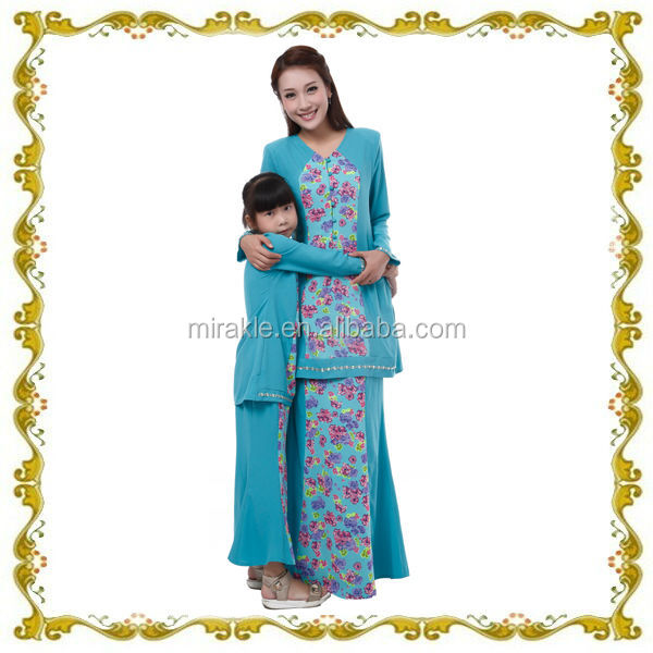 MF22276 2014 beautiful baju kurung design for mother & daughter