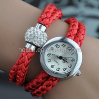 Fashion red leather cord bracelet watch NSBR-24564