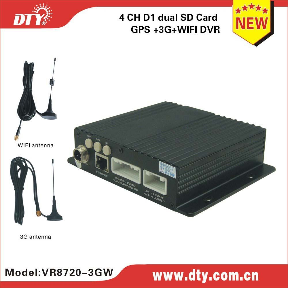 DTY VR8720-3G 4CH H 264 2 usb port video recorder for car