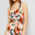 New Beautiful Sunshine Women Dress Wholesale Cross Strap Back V Neckline Tie Waist Pink Tropical Print Asymmetric Hem Dress