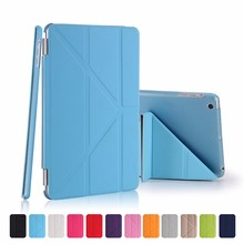 Fashion Slim PU Leather Smart Case for iPad mini 1 2 3 Retina Hard PC Back Cover for Apple iPad mini Stand Cover Case