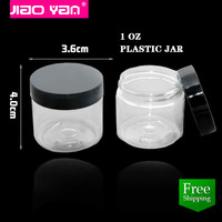 free shipping 1oz Clear Plastic Cosmetic Jar for makeup tool #3217
