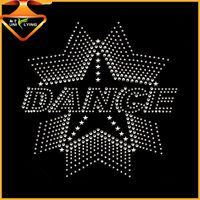 black STAR rhinestone iron on transfers custom t-shirts