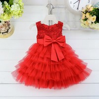 2016 kids birthday party dress handmade christmas flower girl dresses of 9 years old Beaded gauze dress skirt LM1818XZ