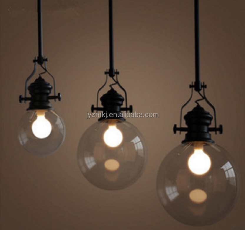 wholesale professional New designs indoor lampshade pendant glass wooden iron metal hanging light