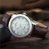 White Ceramic Watch Case Brown Genuine Leather Teenage Fashion Quartz Watch