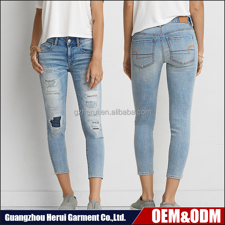 New Arrival Popular Ladies Skinny Leggings Denim Jeans Pants Pent Top Selling Fashion 100% Cotton Women Ripped Jeans Trousers