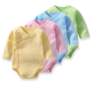 Spring summer long sleeve blank organic cotton baby romper