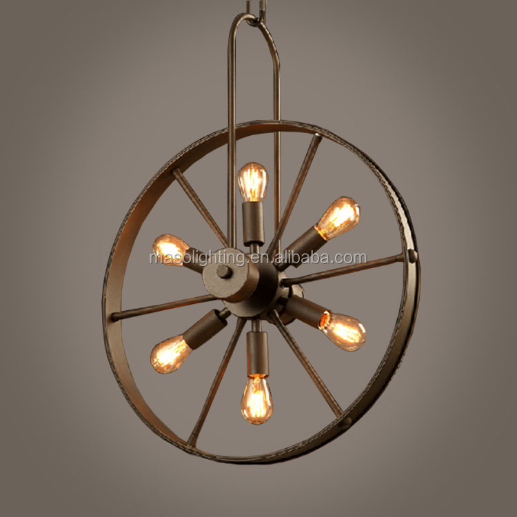Retro Industrial Wheel shape six heads Light Fixture Loft Creative Edison Bar counter Cafe Decor Round Vintage pendant lamp