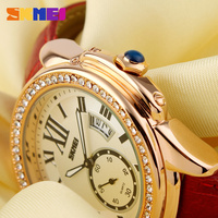 SKMEI new style ladies watches 2016 with diamond circle water proof watch
