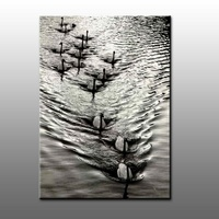 High quality pure hand-painted oil painting beautiful swan family decorative painting