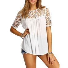 B30722A Europe style summer women new hook flower hollow-out embroidery back strap T-shirt