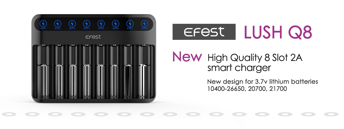 New 18650 Battery Charger, Efest LUSH Q2 2pcs 18650 Battery Charger, Auto-choose Amps Function