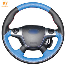 Blue Red White Leather Steering Wheel Cover for Ford Focus 3 KUGA 2012 2013