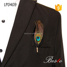2016 Factory wholesale decorative stick pin peacook feather brooch for men suits wedding accessories