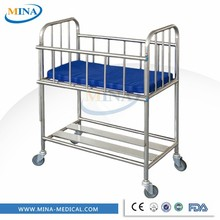 MINA-BB16 Hospital moblie stainless steel baby crib with four silent wheels