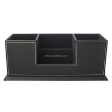 PU Leather Storage Box 4 Divided Compartments for Pen Business Card Remote Control Mobile Phone Office Supplies Holder