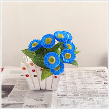 fake blue flowers 5 different colors mini craft silk flowers