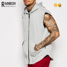 Sleeveless cotton hoodie printing zip up jogger vest hoodie wholesale