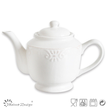 1680cc Ceramic White Wave Flower Embossed Tea Pot